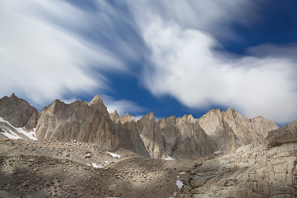 Long exposure of Mount Whitney from below