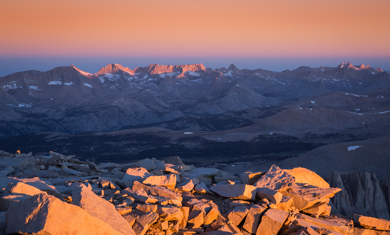The sun rising over the Sierra Nevada