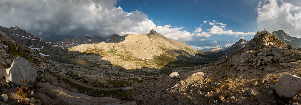 View from Kaweah gap: Nine Lakes Basin (left), Big Arroyo Valley (right), the Great Western Divide (far right) and the Kaweah ridge (center)