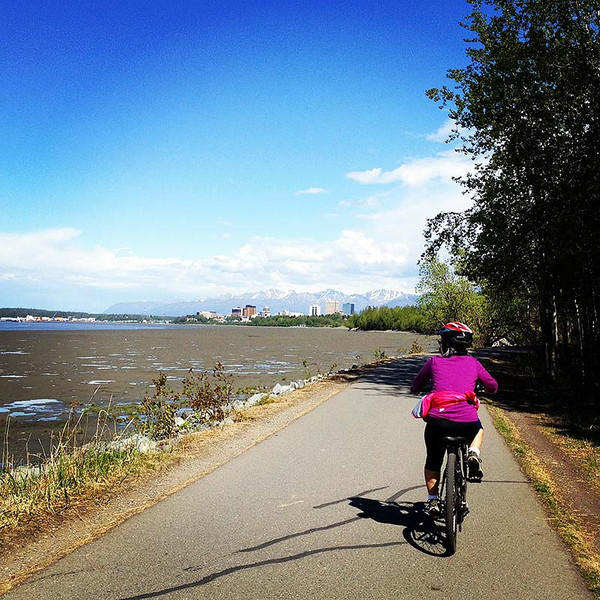 Biking the Tony Knowles Coastal Trail in Anchorage, Alaska (photo: Kim Olson)