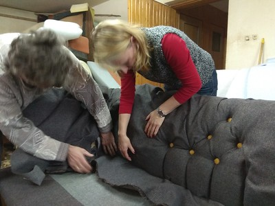 Tufting of antique sofa