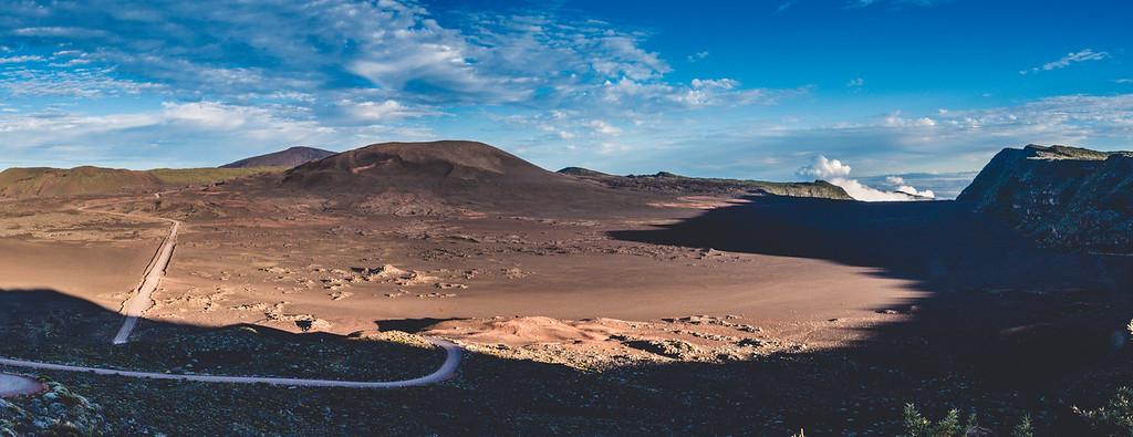 Soleil à la plaine des sables et au volcan
