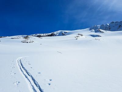 Skinning up the Asulkan Glacier