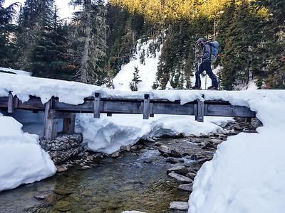 Bridge crossing on skis