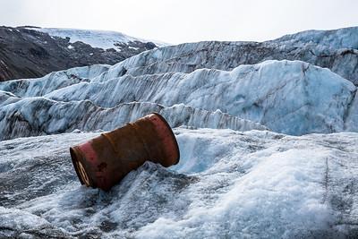 Rusting barrel on Berendon Glacier