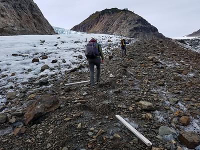 Hiking up a debris filled moraine
