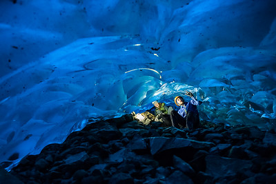 Crawling around in an ice cave