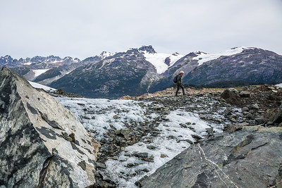 Hiking across Berendon Glacier