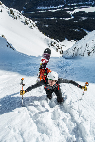 This year saw some firsts in the way of Backcountry skiing adventures, this was a perfect spring day climbing and skiing one of the classic Highway 93N couloirs on Mt.Chephren