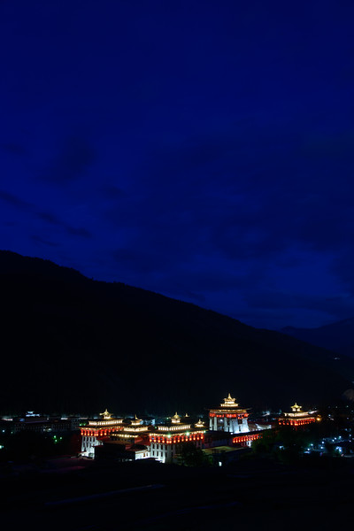 Tashichho Dzong during blue hour