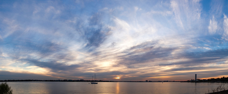Sunset over Clear Lake in southeast Houston. 22 photo panorama