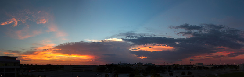 Sunset from San Jacinto College South's observation deck. 14 photo panorama