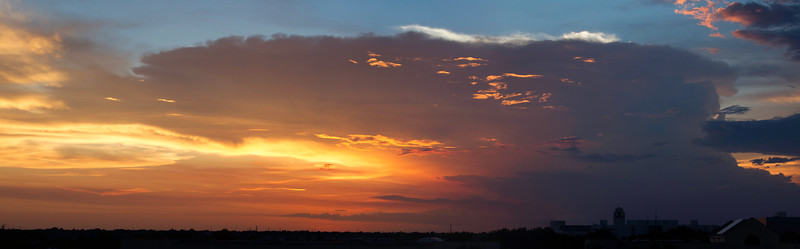 Sunset from San Jacinto College South's observation deck. 3 photo panorama