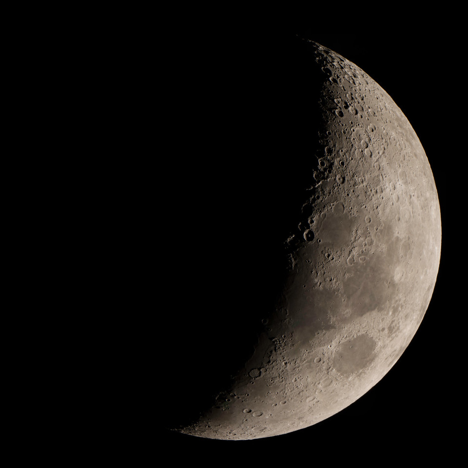 "Waxing crescent Moon. 16"" Meade telescope at San Jacinto College South. 12 photo panorama"