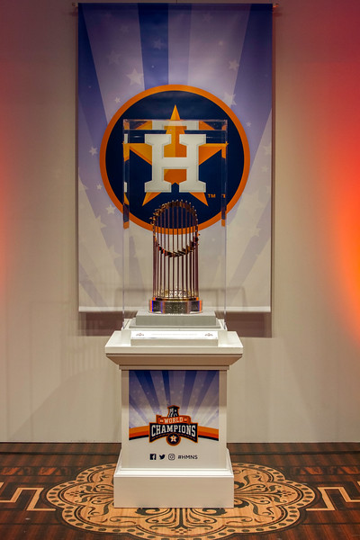 Houston Astros 2017 World Series Champion trophy at the Houston Museum of Natural Science