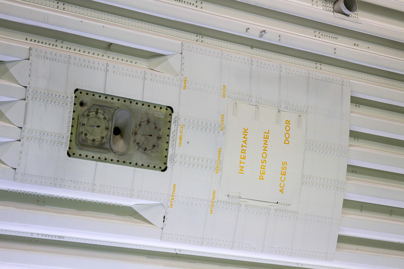 Intertank personnel access door on the Saturn V rocket at the Johnson Space Center