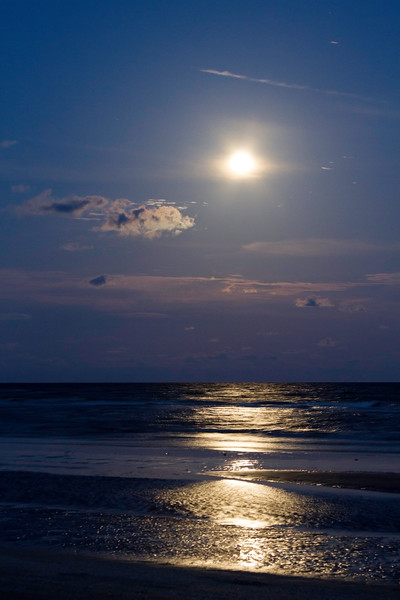 Full Moon over the Gulf of Mexico at Galveston Island State Park