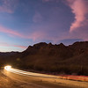 Week 7. Cars going through Gates Pass outside of Tucson, AZ at sunset. 2 photo panorama