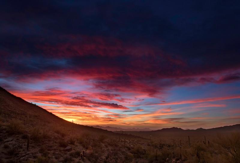 Blazing sunset at Gates Pass outside of Tucson, AZ