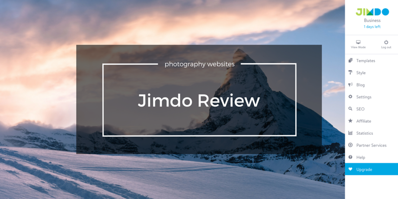 Jimdo review for photography websites
