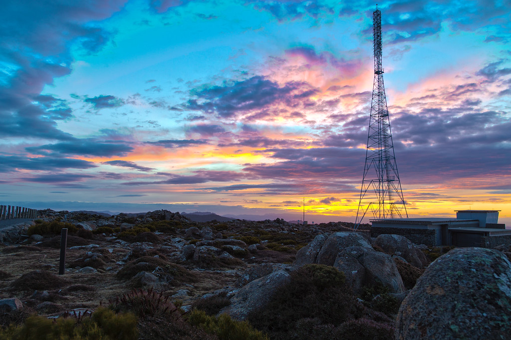 Lookout and weather tower atop Mt Wellington, Tasmania