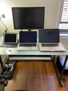 """A comparison between the iPad Pro w/keyboard, my 13"""" 2020 MacBook Pro and my 15"""" 2013 MacBook Pro (Image: Ricardo Gomez Photography)"""