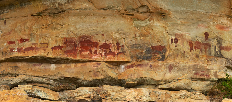 San rock art. Game Pass Shelter. Kamberg. Ukhahlamba Drakensberg Park. KwaZulu Natal. South Africa