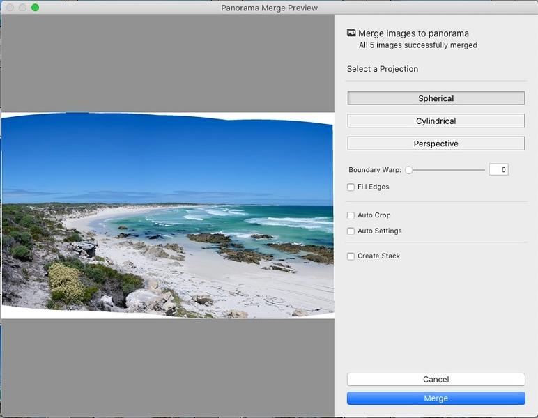 The panorama merge settings dialog box.
