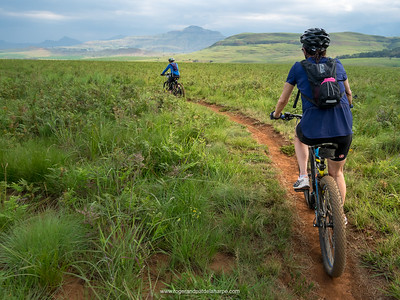 Pat and Debbie on one of the All Out Adventures Mountain Biking trails. Northern Drakensberg. KwaZulu Natal. South Africa