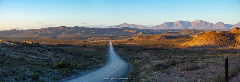 Little Karoo gravel road with the Outeniqua Mountains in the background. Near Van Wyksdorp. Western Cape. South Africa