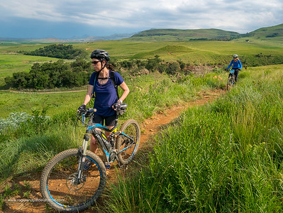 Debbie and Pat on the All Out Adventures Mountain Biking trail. Northern Drakensberg. KwaZulu Natal. South Africa