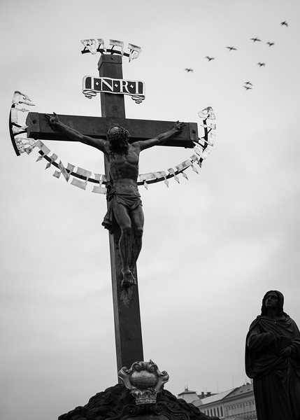 The Crucifix and Calvary on Charles Bridge, Prague 1/60 sec at f/2.2, ISO 200 35mm with cropping