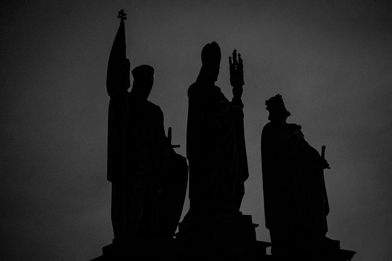St Norbert, Venceslas, and Sigmund watched over me for a few late nights and early mornings on the Charles Bridge. 1/60sec at f/1.4, ISO 6400, 35mm