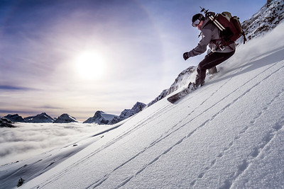 Snowboarder with Sunflare