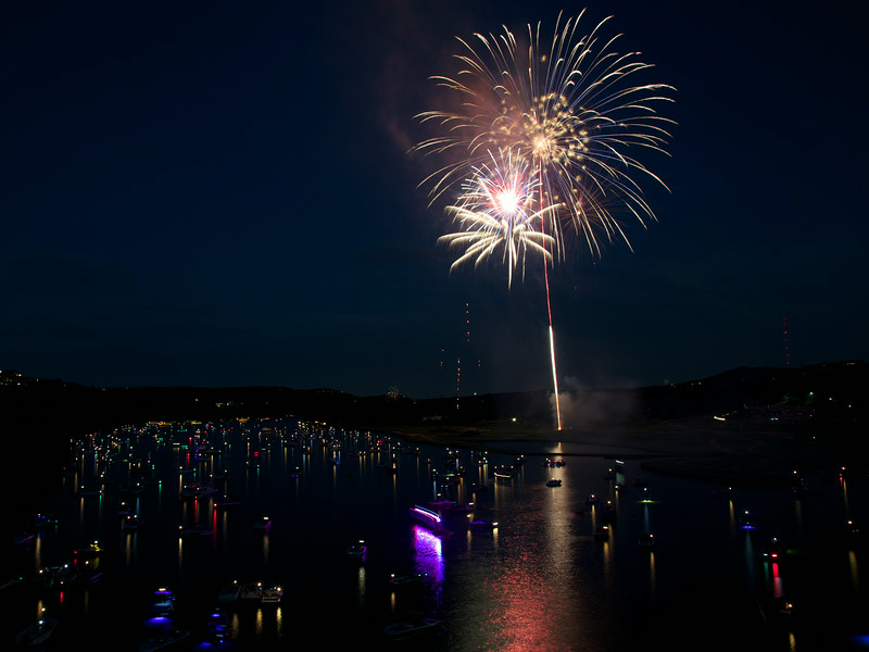 Fireworks over Lake Austin (2014) Canon 6D Before - Austin, Texas
