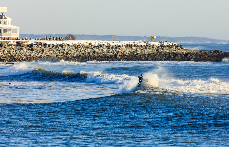 Probably the coldest surf trips I've ever taken.  New Hampshire after a blizzard,  Joey Pinheiro wasn't too fazed.