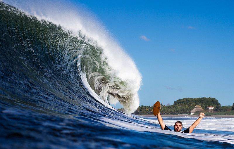 Jon from Thunderbomb Surf Camp stoked on bodysurfing with his home made handplane.