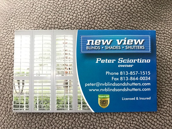 New View Blinds Shades and Shutters Business Card