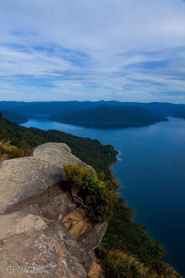 Lake Waikaremoana as seen from the top of Panekire Bluff, Lake Waikaremoana Great Walk, Te Urewera National Park, North Island, New Zealand