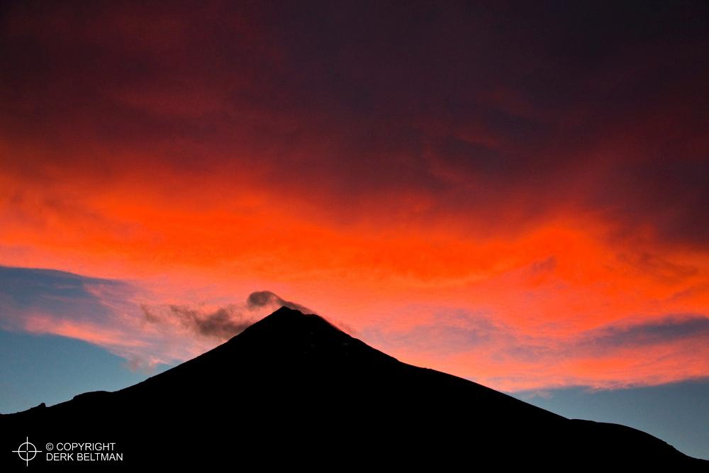Mount Taranaki around sunset, Taranaki National Park, New Zealand
