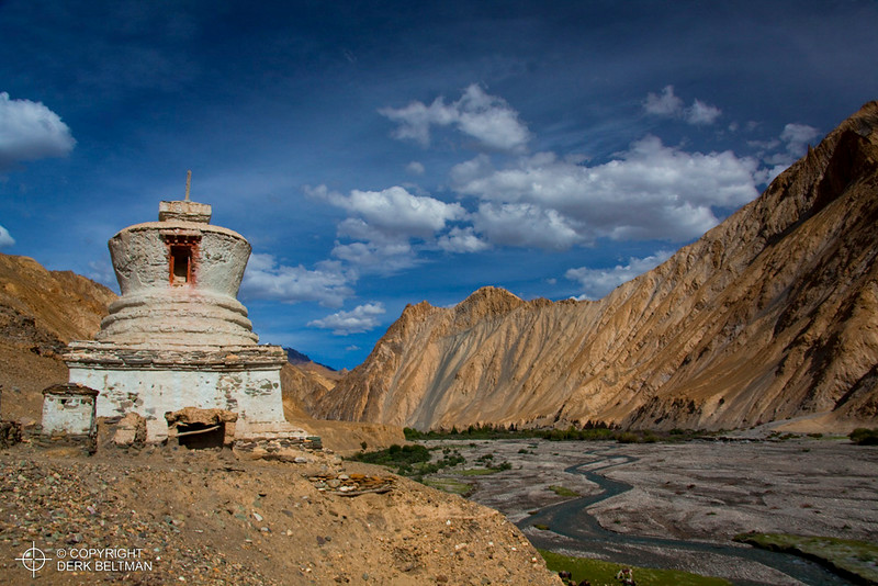 Stupa in the Markha Valley near Markha, Hemis National Park, Stok Mountain Range, Ladakh, Jammu and Kashmir, India