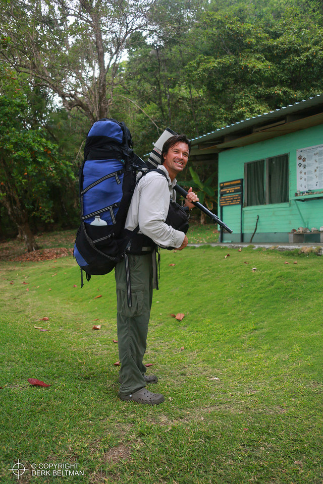 Wildlife photographer at La Leona ranger station hiking to La Sirena, Corcovado National Park, Osa Peninsula, Puntarenas, Costa Rica