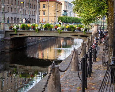 Gothenburg, Sweden, evening stroll. Bicycles and canals.