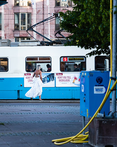 Girl in a white dress.  Gothenburg street photography.