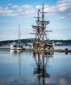 Lady Washington, replica of Capt Gray's vessel. Sailed the PNW to Hawaii and Japan, first American vessel to circumnavigate the world.