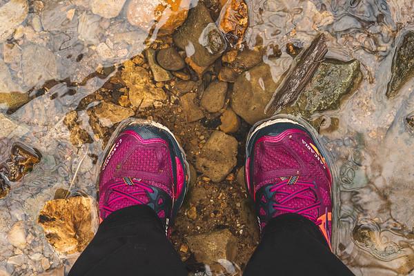 Wet feet in the stream!