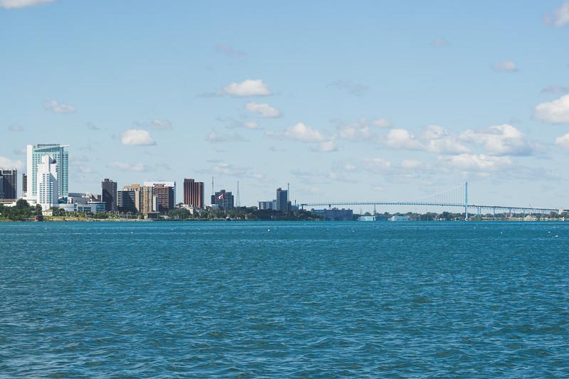 The Ambassador Bridge into Ontario