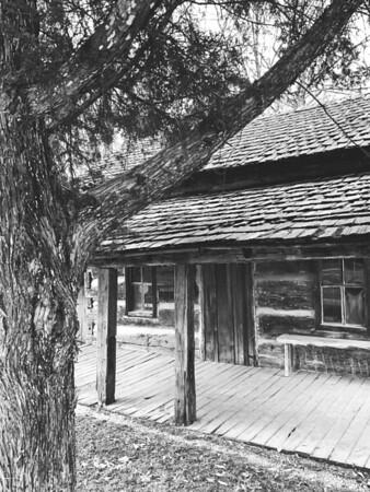 Front porch of a log cabin
