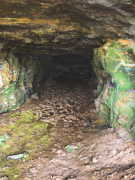 Inside of the Cave! Check out all of the footprints in the mud!