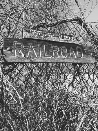 Sign warning of railroad tracks